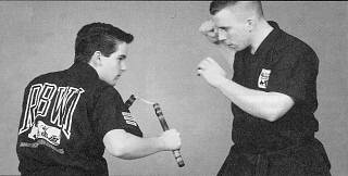 'American ninja' with nunchaku